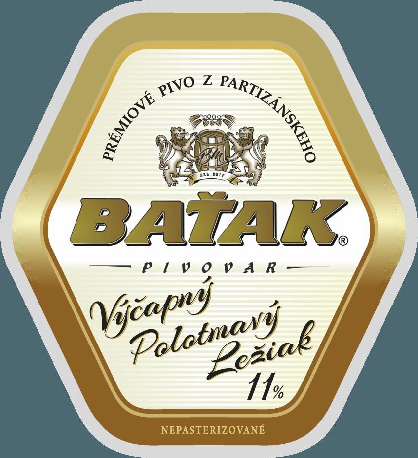 etiketa Výčapný polotmavý ležiak 11% - Pivovar BAŤAK