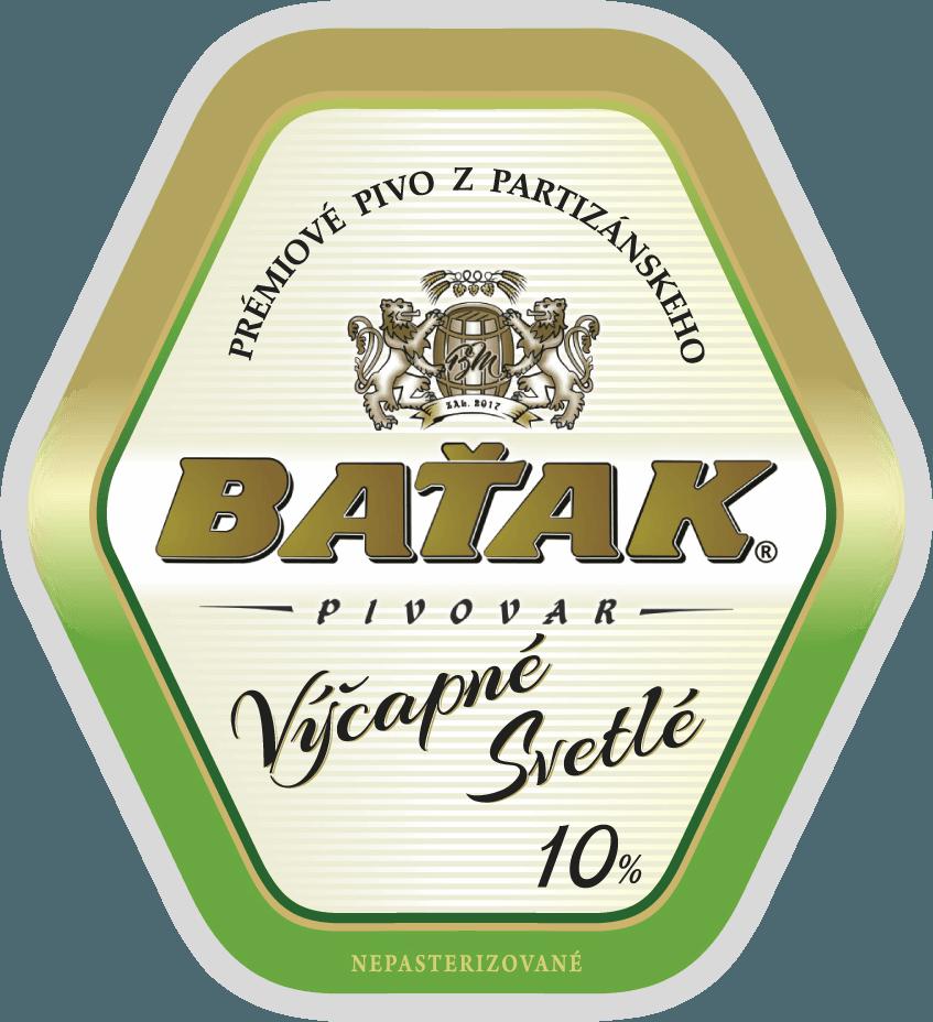 etiketa Výčapné svetlé 10% - Pivovar BAŤAK
