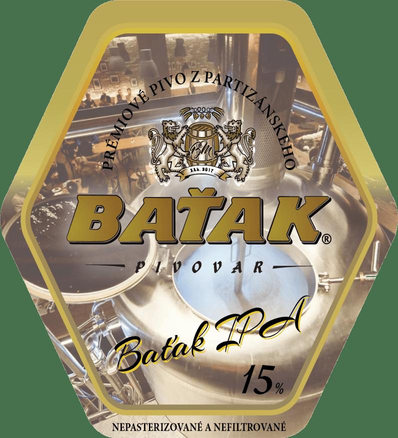 etiketa Baťak IPA 15% - Pivovar BAŤAK