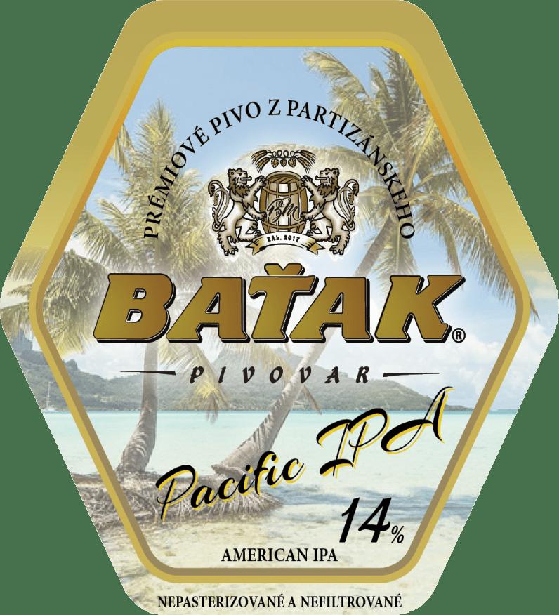 etiketa Pacific IPA 14% - Pivovar BAŤAK